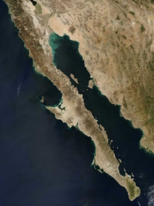 The peninsula extends 775 miles from Mexicali, Baja California in the north to Cabo San Lucas, Baja California Sur in the south. It ranges from 25 miles at its narrowest to 200 miles at its widest point and has approximately 1,900 miles of coastline and approximately 65 islands. The total area of the Baja California Peninsula is 55,360 square miles.